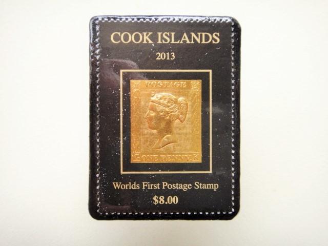 クック諸島 金箔切手ブローチ1272