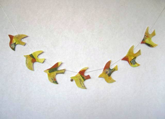 Yellow birds garland