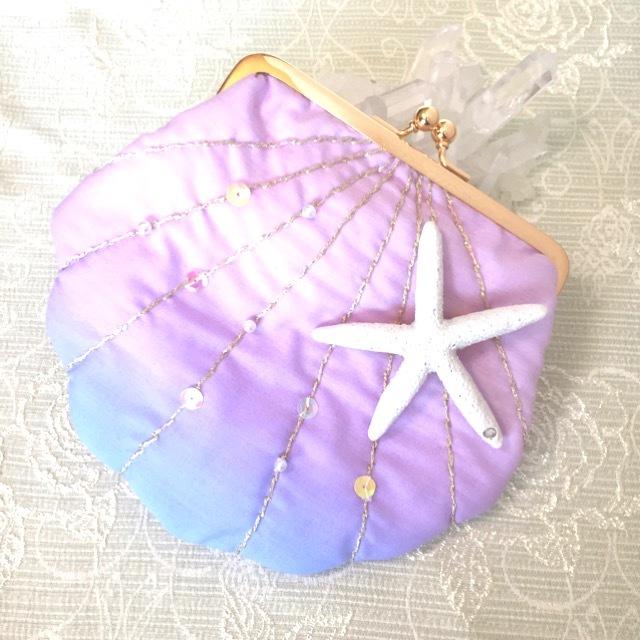 貝殻がま口ポーチ  ピンクブルー
