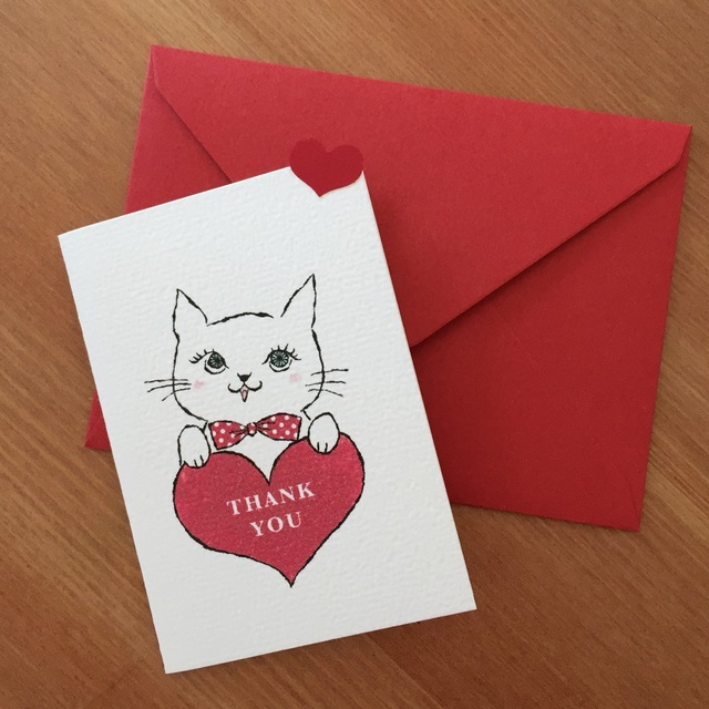 MINI CARD -THANK YOU CAT  2PC SET-