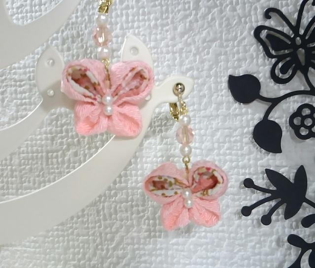 つまみ細工のピアス〜ピンクの蝶〜