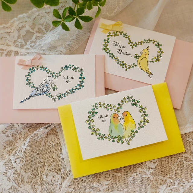 MINI CARD -  PARAKEETS  3PC SET-