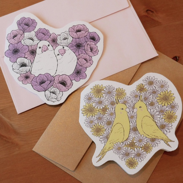 LOVE CARD - COCKATIELS & WHITE JAVA SPARROWS   2PC SET