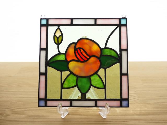 ステンドグラス ミニパネル フラワー・オレンジ系 15cm