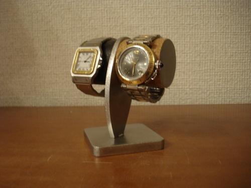 2本掛け白黒どっしり腕時計スタンド