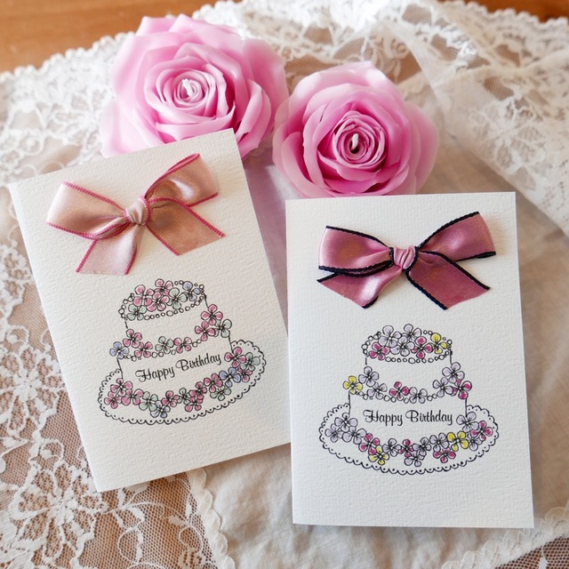 BIRTHDAY CARD flower cake - 2PC SET -