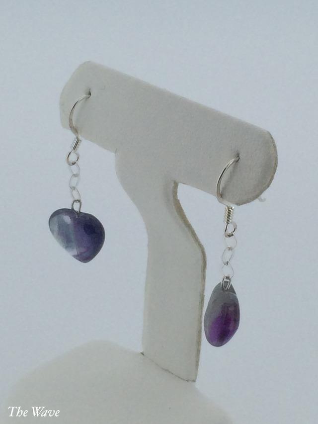 ハートの天然石のシルバーピアス -Violet-