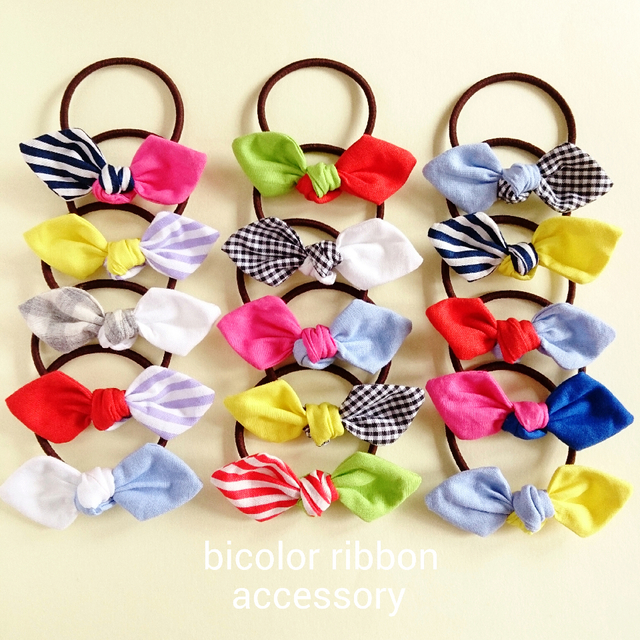 『bicolor ribbon』ヘアゴム2点set