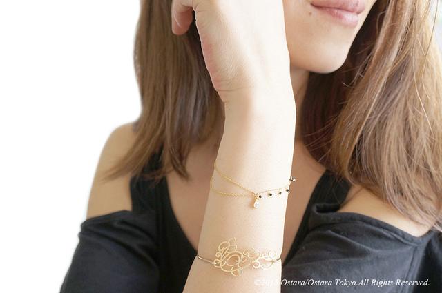 【Monica】14KGF,Swarovski Half Layered Bracelet