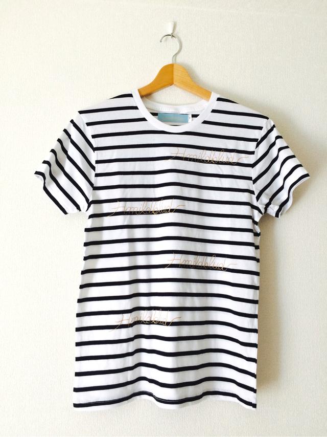 S・H.mildbludロゴボーダーTシャツ(白黒ボーダー×金)