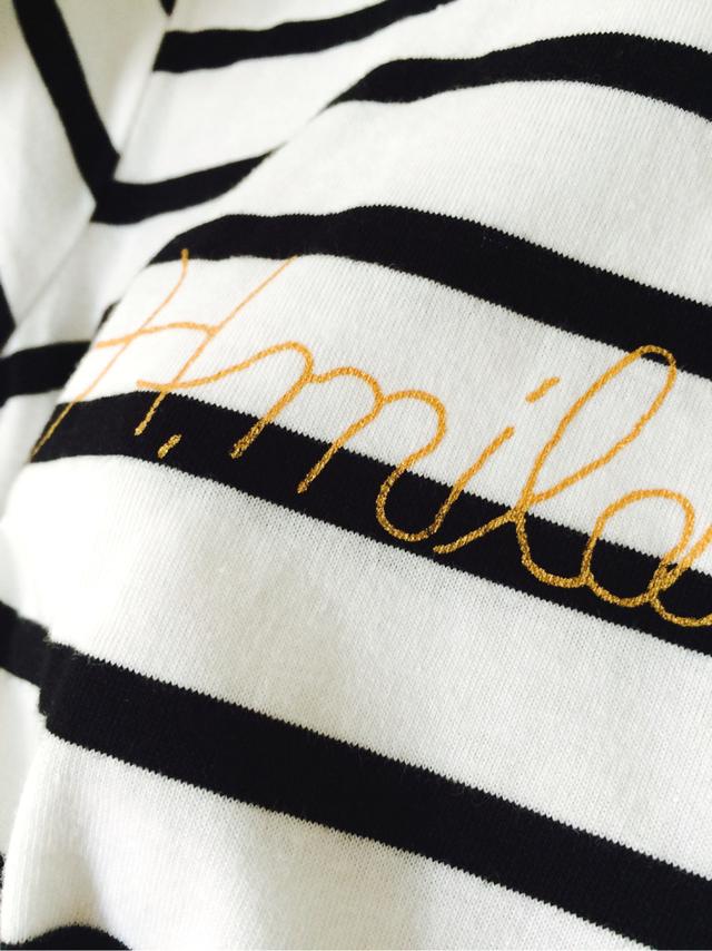 L・H.mildbludロゴボーダーTシャツ(白黒ボーダー×金)