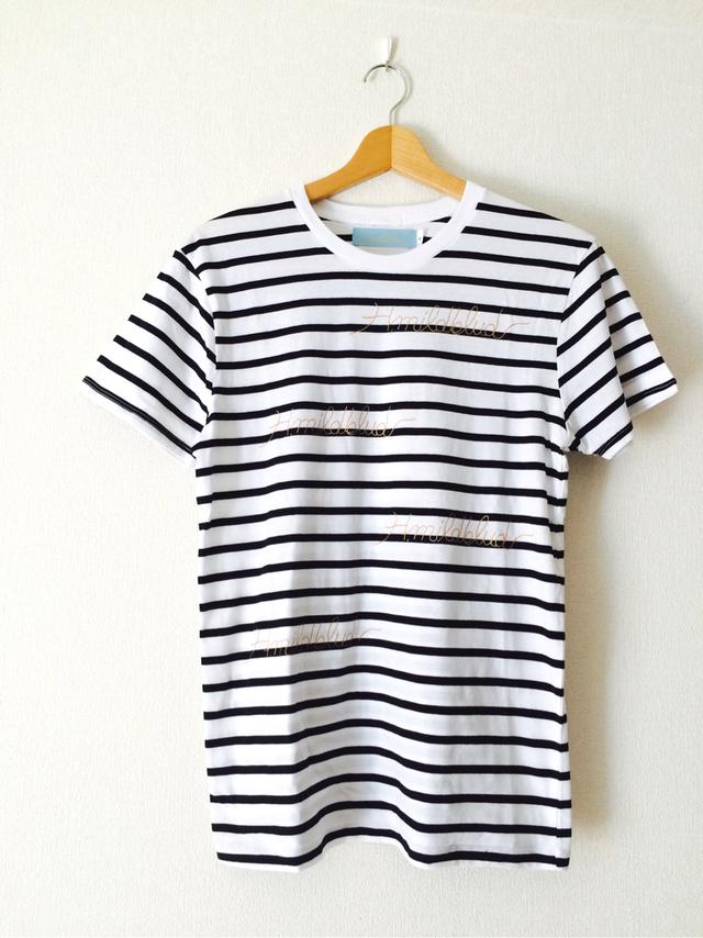 M・H.mildbludロゴボーダーTシャツ(白黒ボーダー×金)