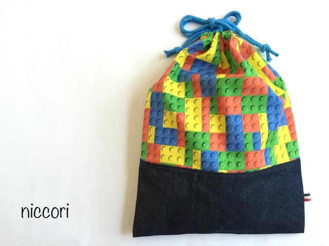 カラフルなブロックの体操着袋