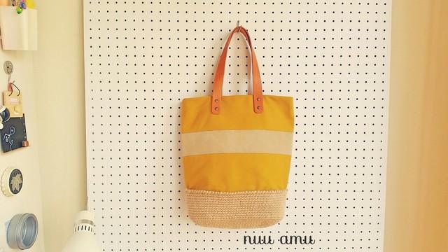 帆布&麻ひも トートバッグ yellow&beige