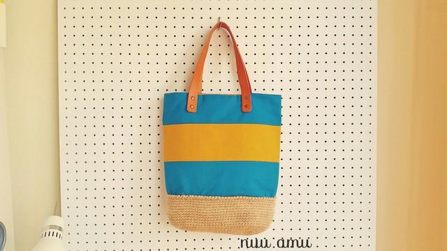 帆布&麻ひも トートバッグ blue&yellow