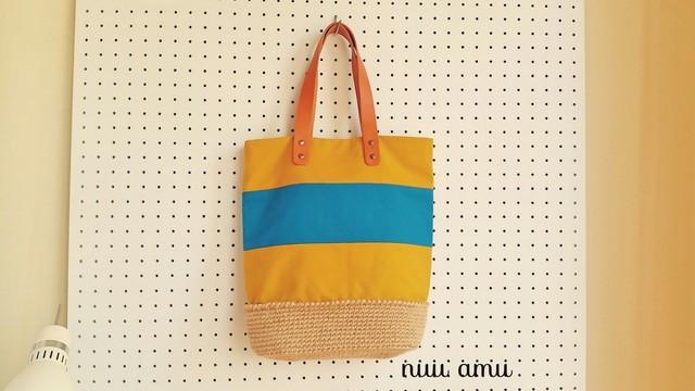 帆布&麻ひも トートバッグ yellow&blue