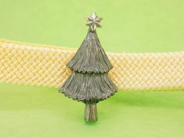 銀細工帯留 ミニクリスマスツリー・黒