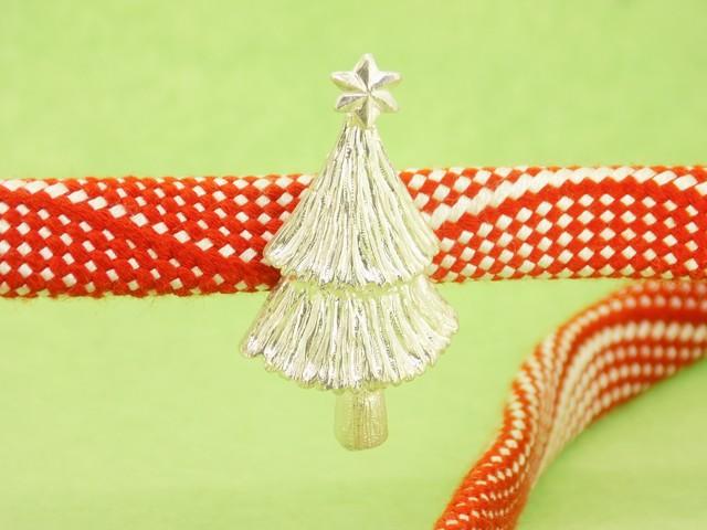 銀細工帯留 ミニクリスマスツリー・白