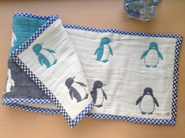 6重 国産ガーゼのふわふわタオル(ペンギン1)
