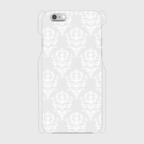 透明ホワイトダマスク柄 表面のみ印刷スマホケース iPhone6/6s 白