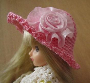 【SALE】ストローハット風ドール用のお帽子【more pink S33】