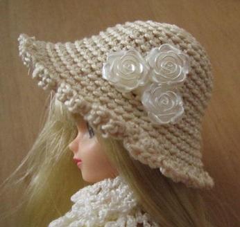 【帽コレ2016summer】ストローハット風ドール用のお帽子【白バラのあの娘の帽子S41】