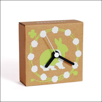 ダンボールの時計|はこどけい|うさぎ(キミドリ)