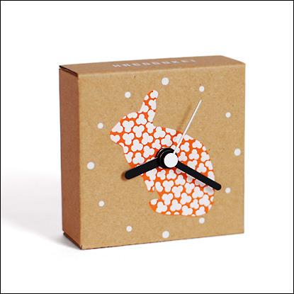 ダンボールの時計|はこどけい|うさぎ(オレンジ)