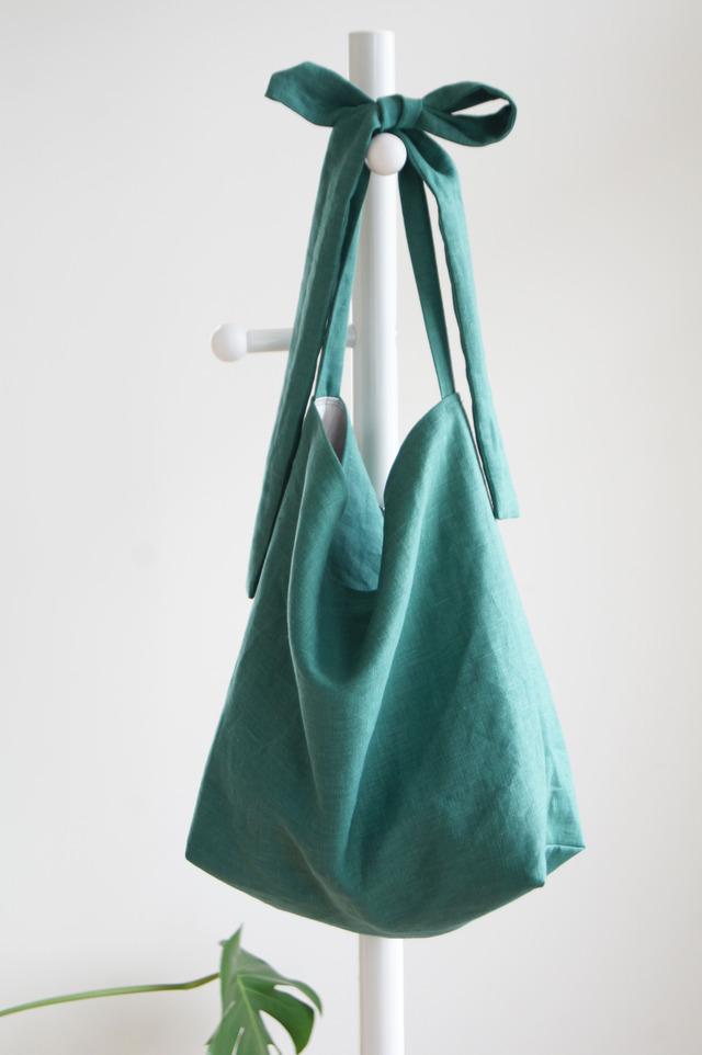 リネンリボンのバッグ(グリーン)