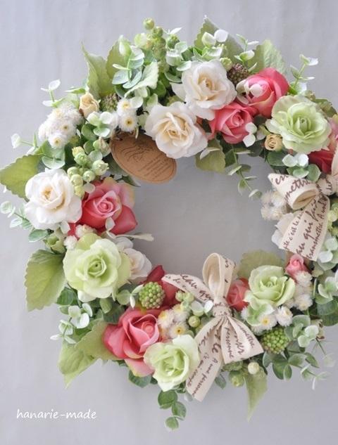 Rose rose wreath:Vanilla,green&red