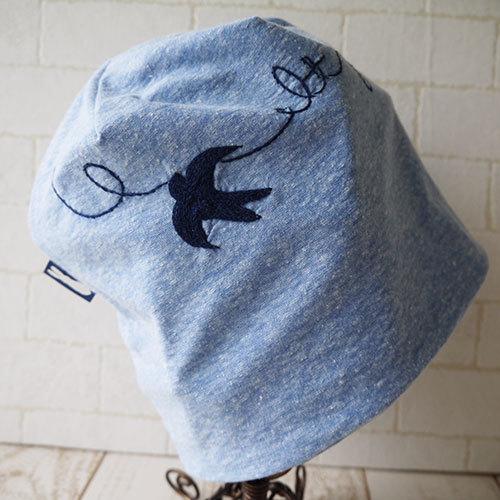 コットン100%のニット生地で作ったニット帽(つばめブルー)
