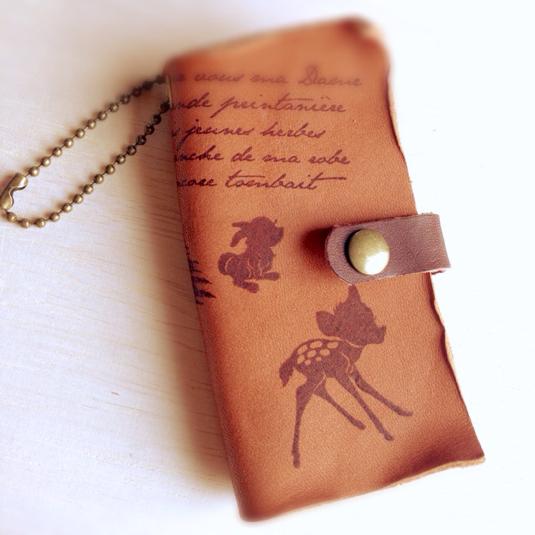 本革 バンビ 子鹿 Book型 キーケース