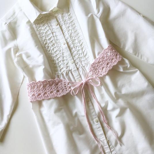 【オーダー品】手編みレースのベルト(さくら色)