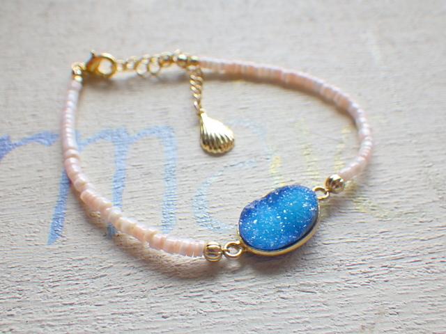 Druzy Beach Bracelet---blue druzy & shel