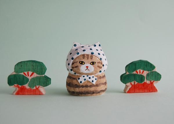木彫り人形ねこ 豆絞りにゃん [MWF-181]