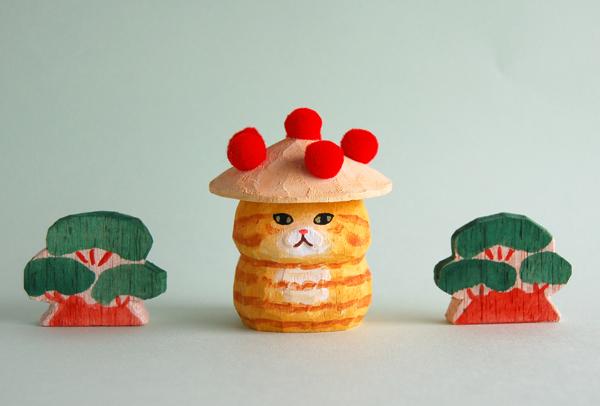 木彫り人形 花笠にゃん 茶トラスコティッシュ [MWF-182]