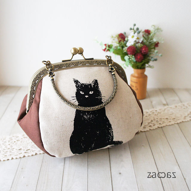 【販売終了】がま口手提げバッグ*気まぐれな黒猫*訳有