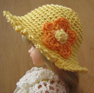 【帽コレ2016summer】ストローハット風ドール用のお帽子【オレンジの花S46】