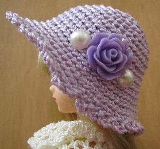 【帽コレ2016summer】ストローハット風ドール用のお帽子【薄紫の薔薇S48】