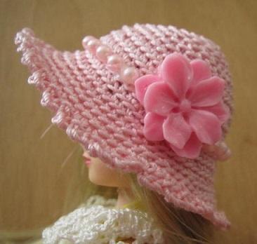 【帽コレ2016summer】ストローハット風ドール用のお帽子【ピンクのお嬢様S50】