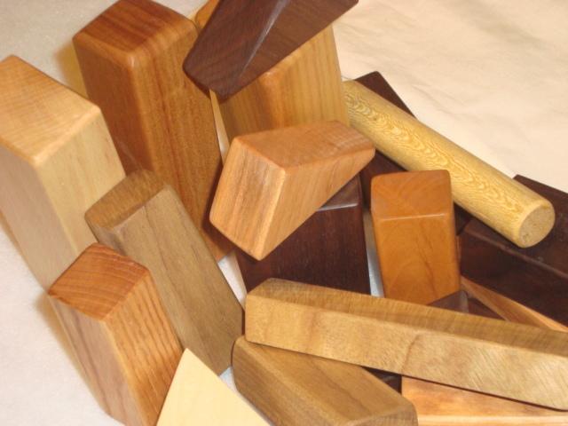 米油仕上げ 無垢の木の積み木 オリジナル収納袋付き!