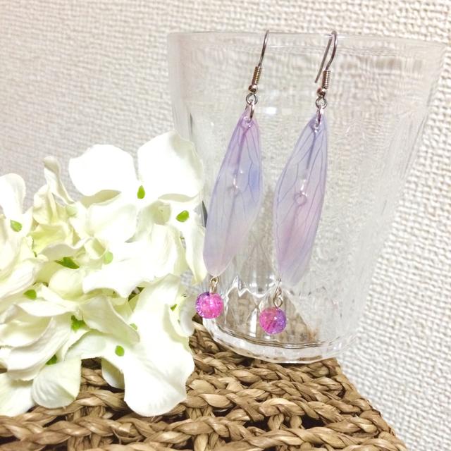 蝉翅ピアス(紫陽花)