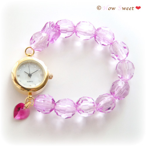 【HowSweet*】クリアビーズのDolly Summer Watch*[purple]