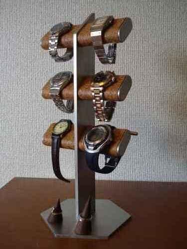 6本掛け腕時計、革バンド、リングスタンド(未固定)