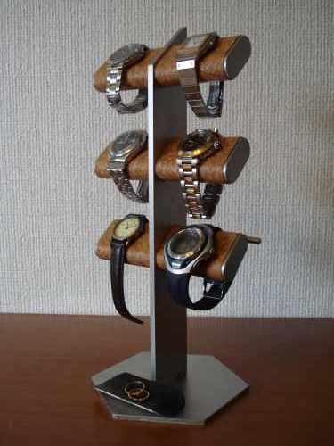 6本掛け腕時計、革バンド、ブラックトレイ