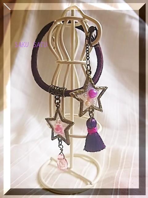 夏セール【一点もの】星のヘアゴム&星の片耳イヤリングセット ピンク