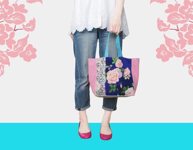 アンティーク着物トートバッグ薔薇ピンク