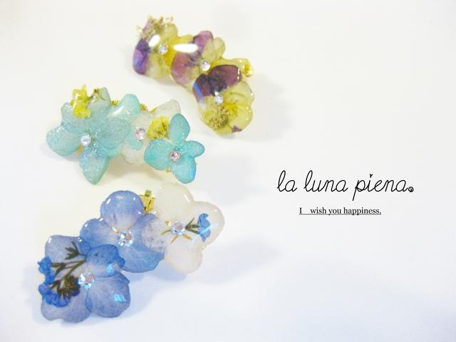 *夏色*紫陽花とビオラのイヤーカフ(片耳用)