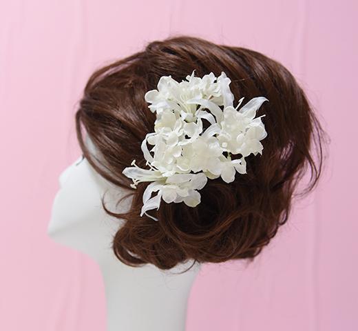 whiteネリネ&whiteアジサイの髪かざり