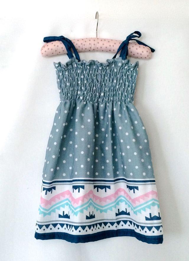 W重ガーゼ*サマードレス*サイズ90〜100*ピンクX水色ボヘミアン